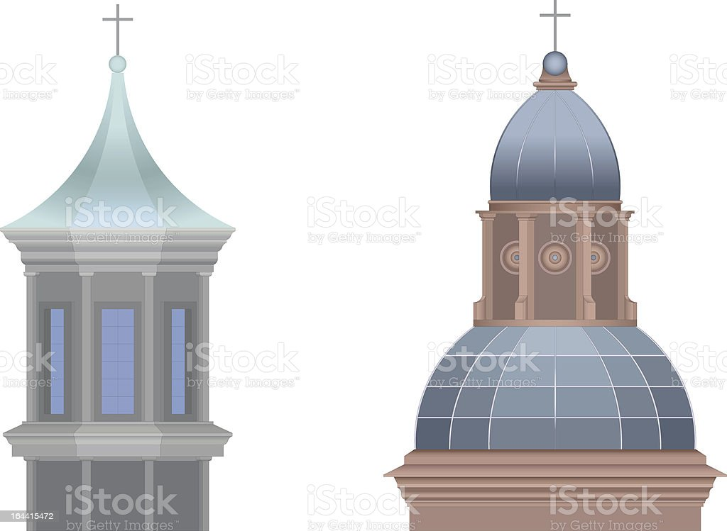 Typical Domes of the Italian Architecture vector art illustration