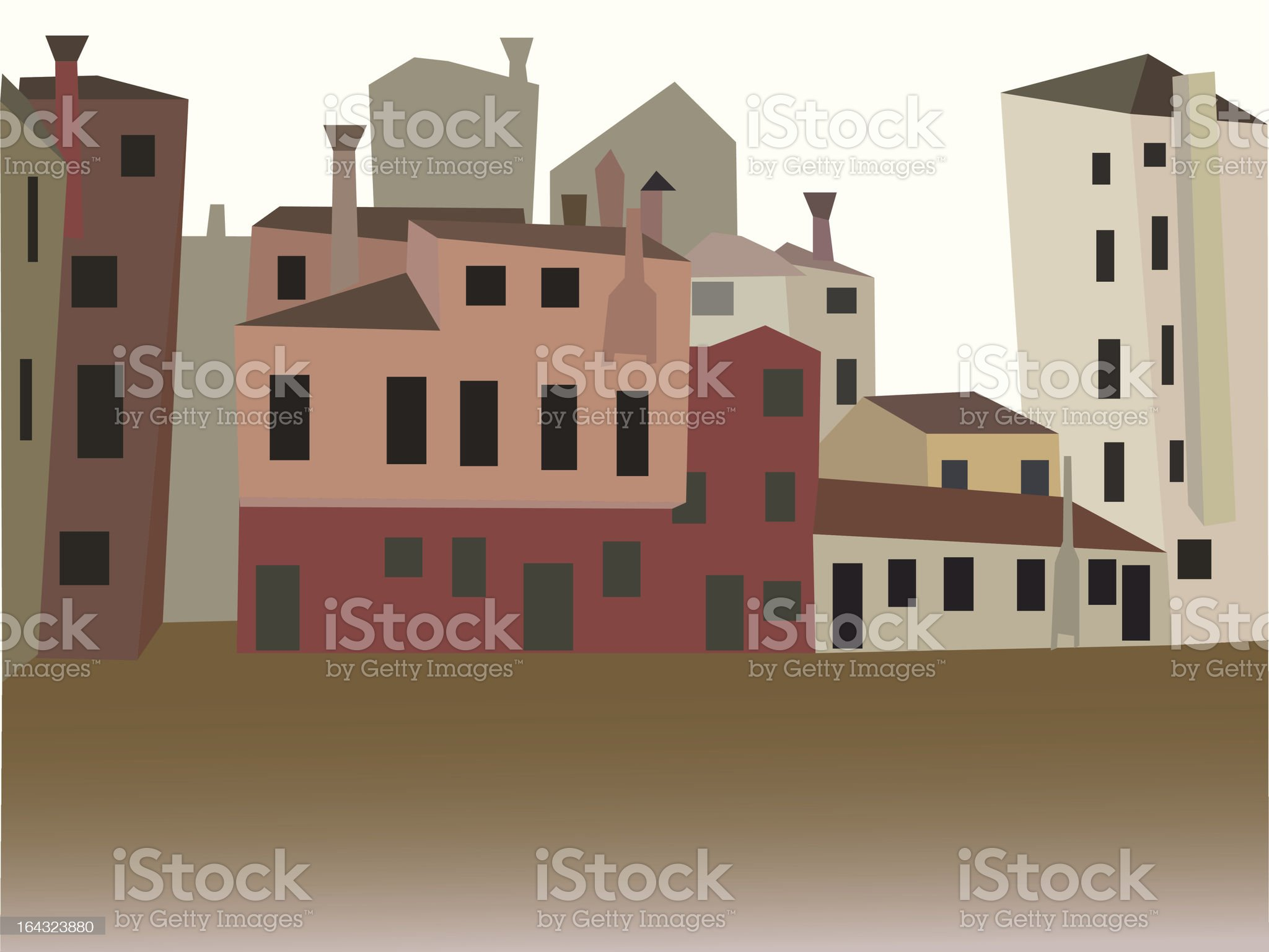 Typical Houses of Venice Perspective Views royalty-free stock vector art