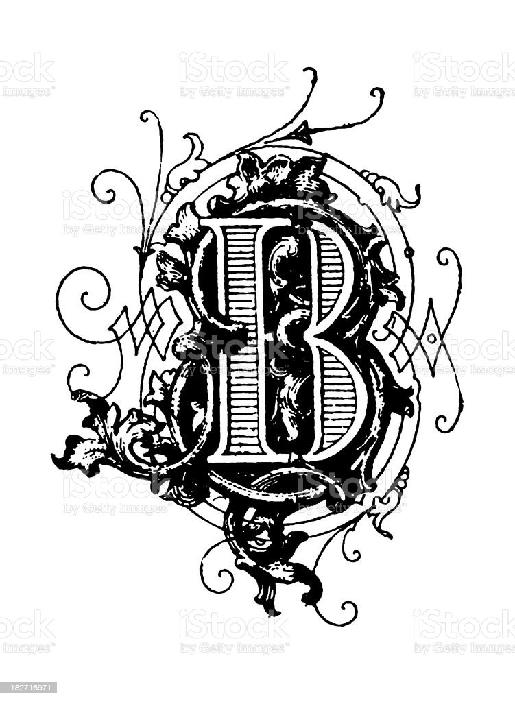 Typographic decoration   Letter B royalty-free stock vector art