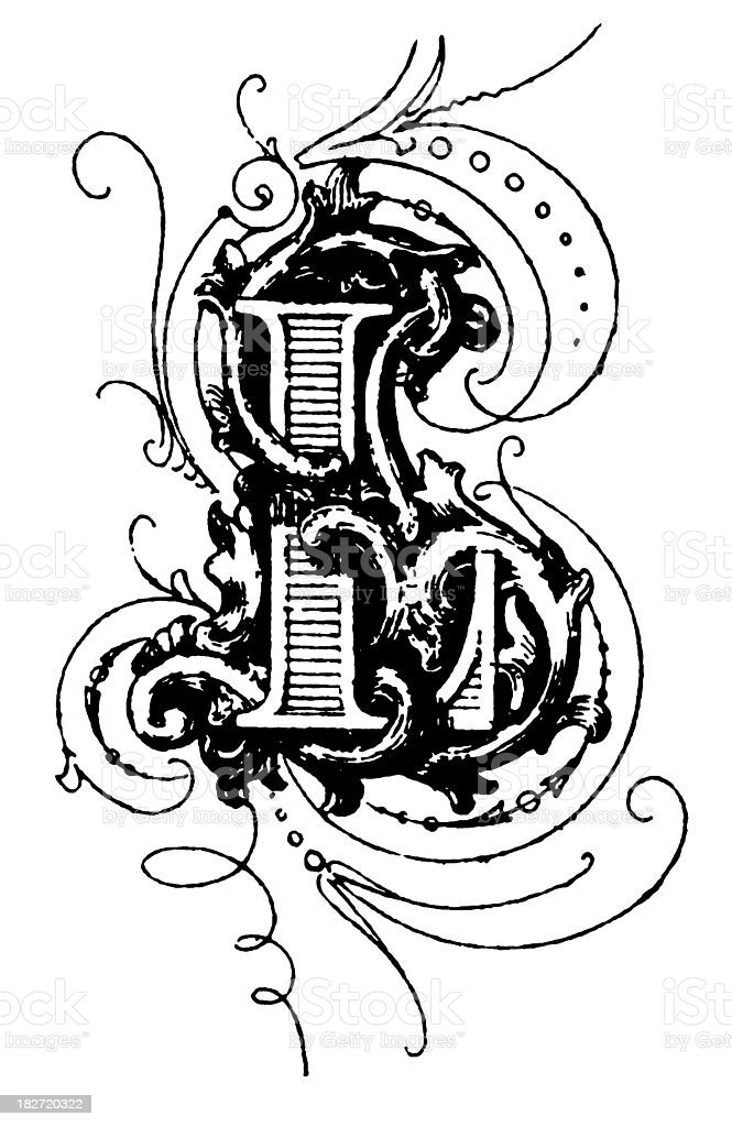 Typographic decoration | Letter L royalty-free stock vector art