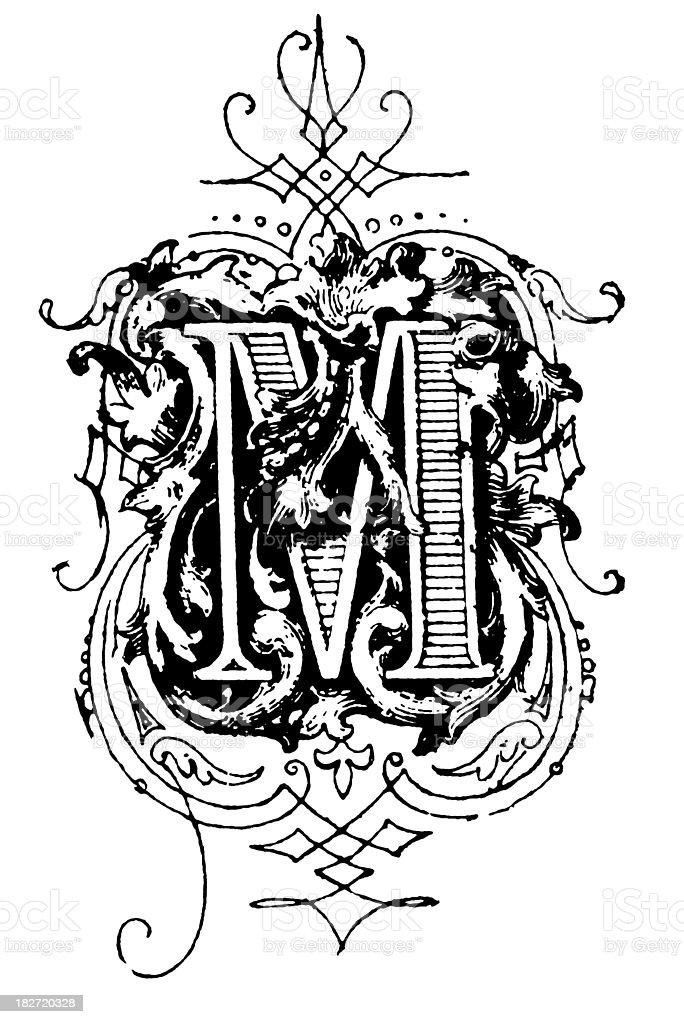 Typographic decoration   Letter M vector art illustration
