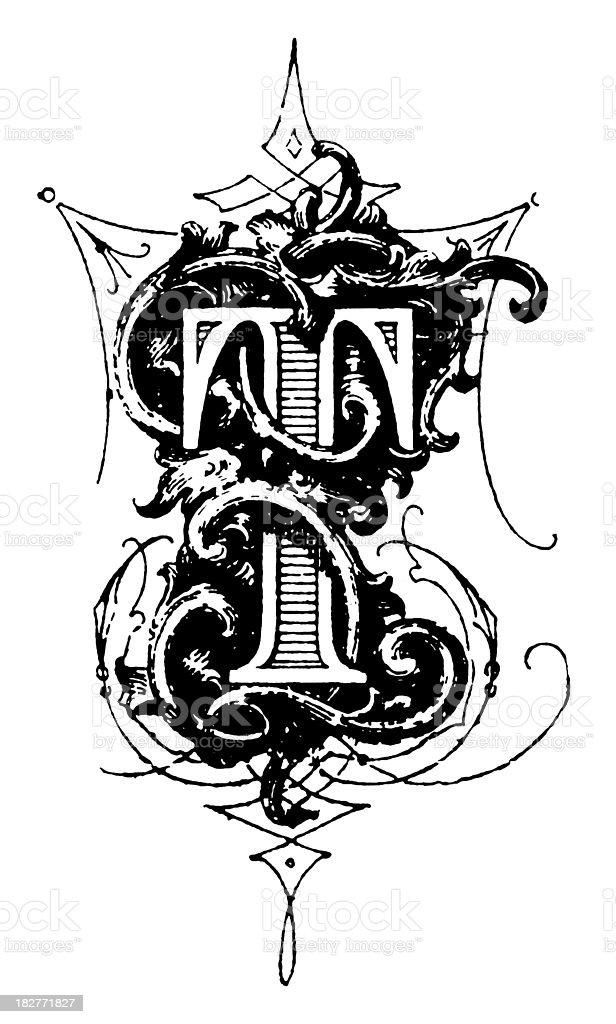 Typographic decoration | Letter T vector art illustration