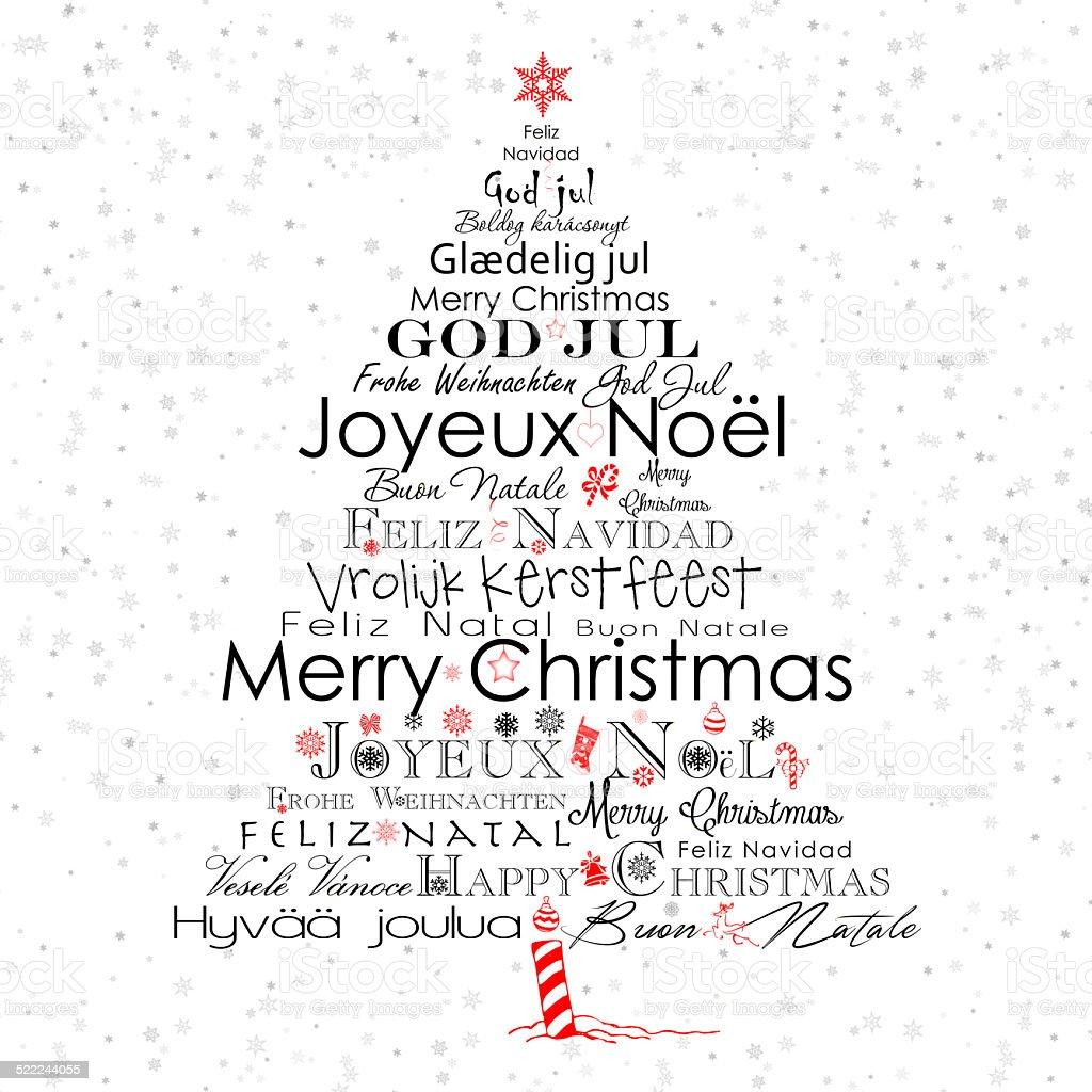 Typography Christmas tree vector art illustration