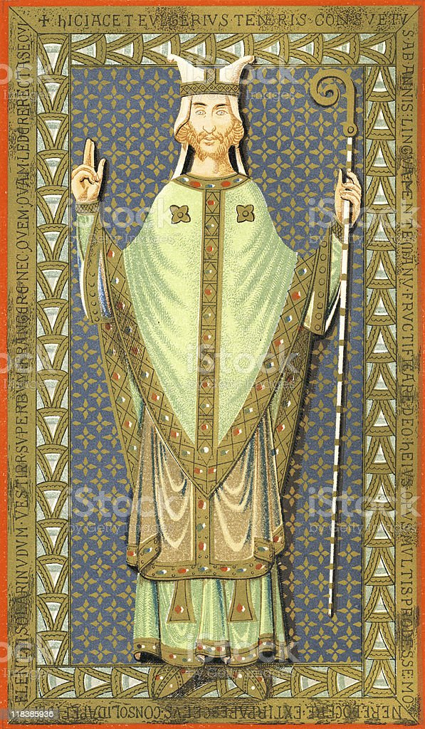 Ulger, Bishop of Angers, circa 1149 vector art illustration