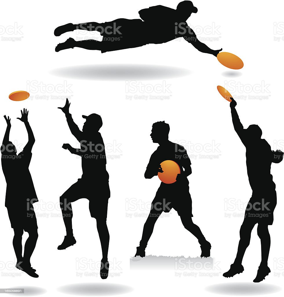 Ultimate Frisbee Silhouettes royalty-free stock vector art