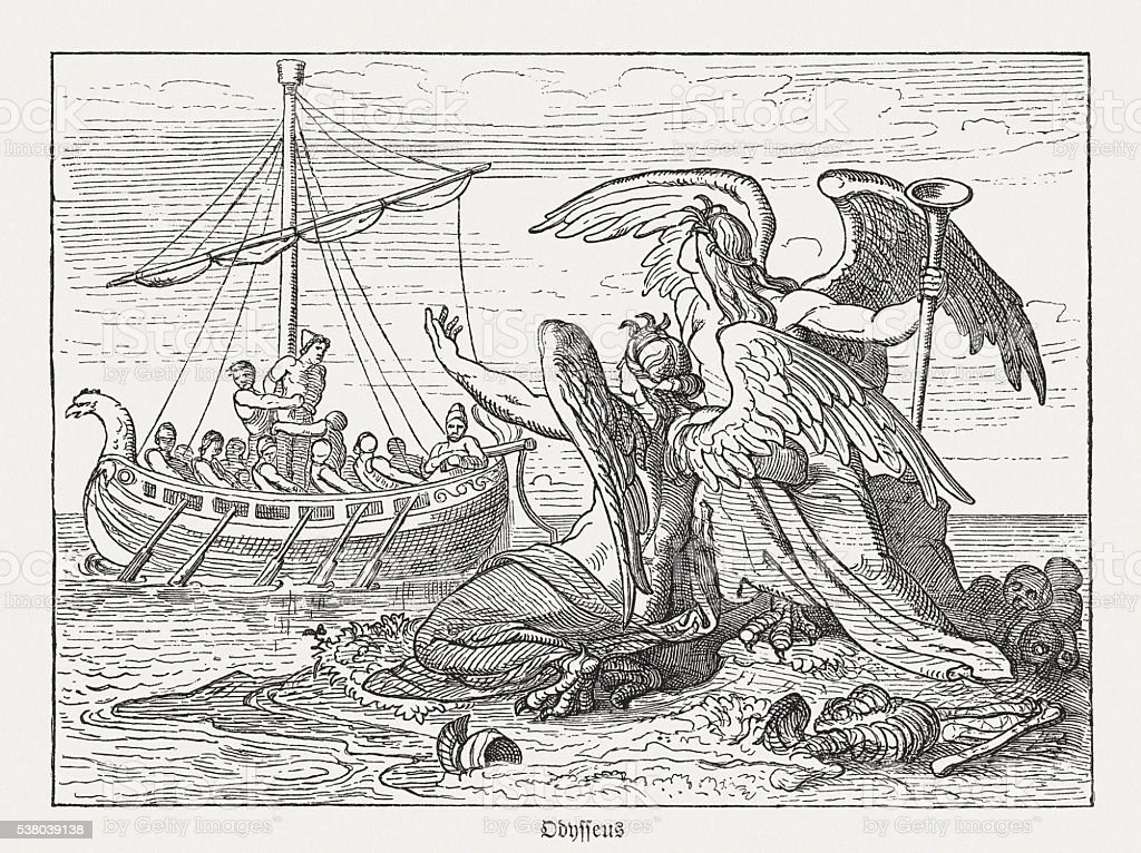 Ulysses and Sirens, Greek mythology, wood engraving, published in 1880 vector art illustration