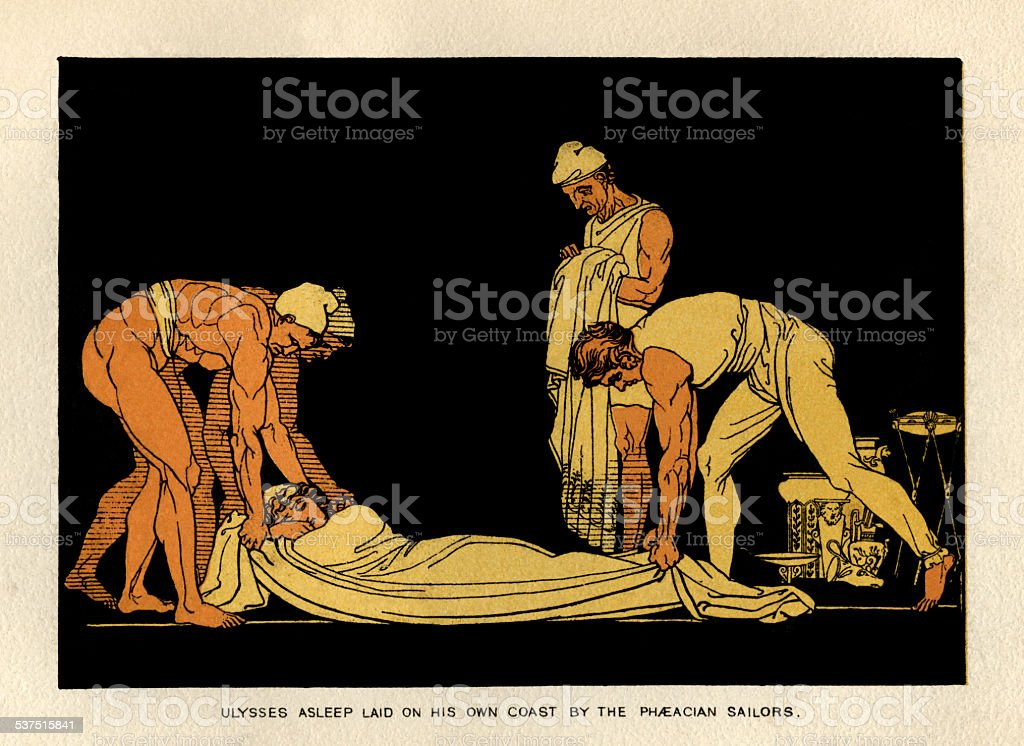 Ulysses asleep and taken to Ithaca by Phaeacian sailors vector art illustration