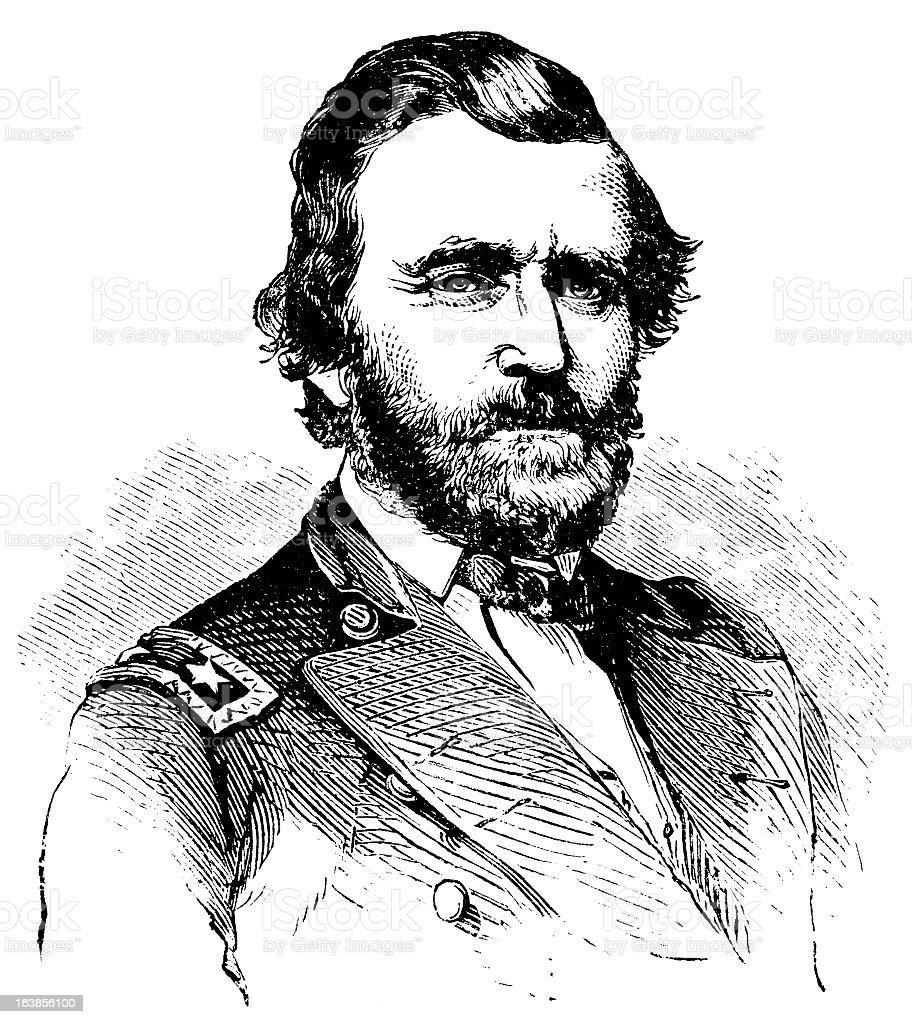 Ulysses Grant - Antique Engraved Portrait royalty-free stock vector art