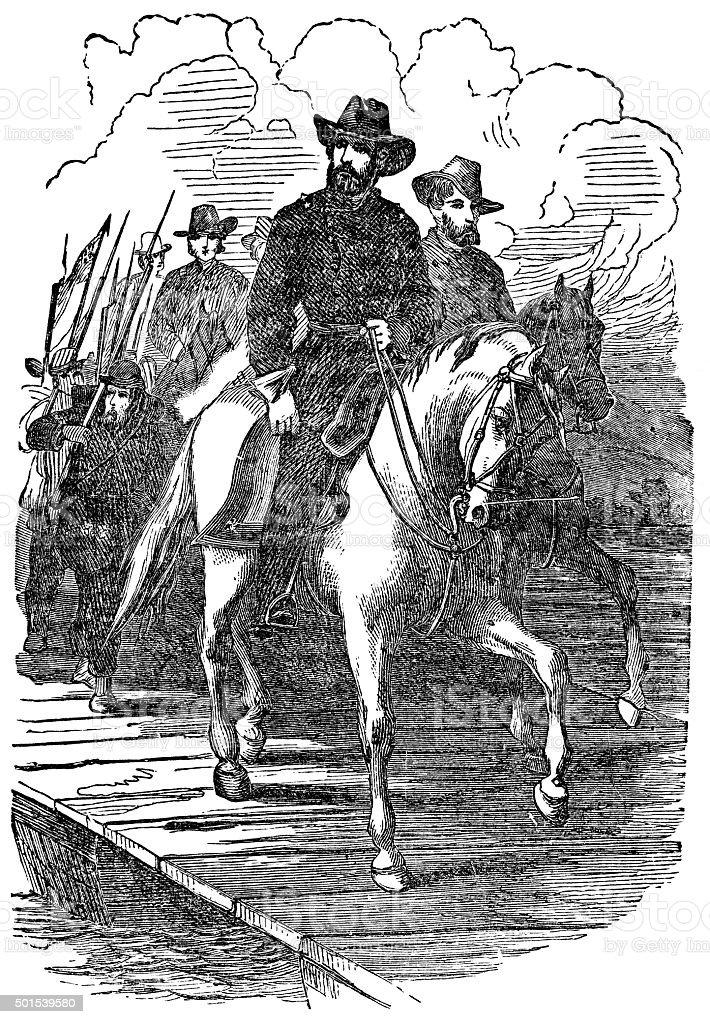 Ulysses Grant marching on Richmond vector art illustration