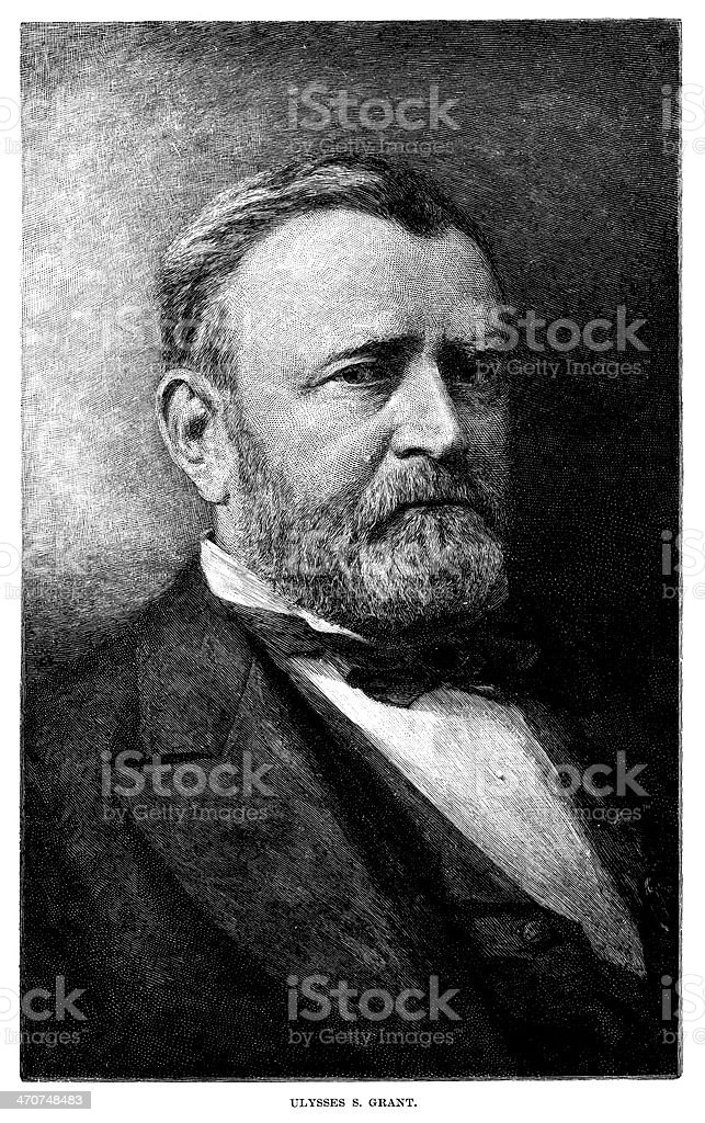 Ulysses S. Grant - Antique Engraved Portrait royalty-free stock vector art