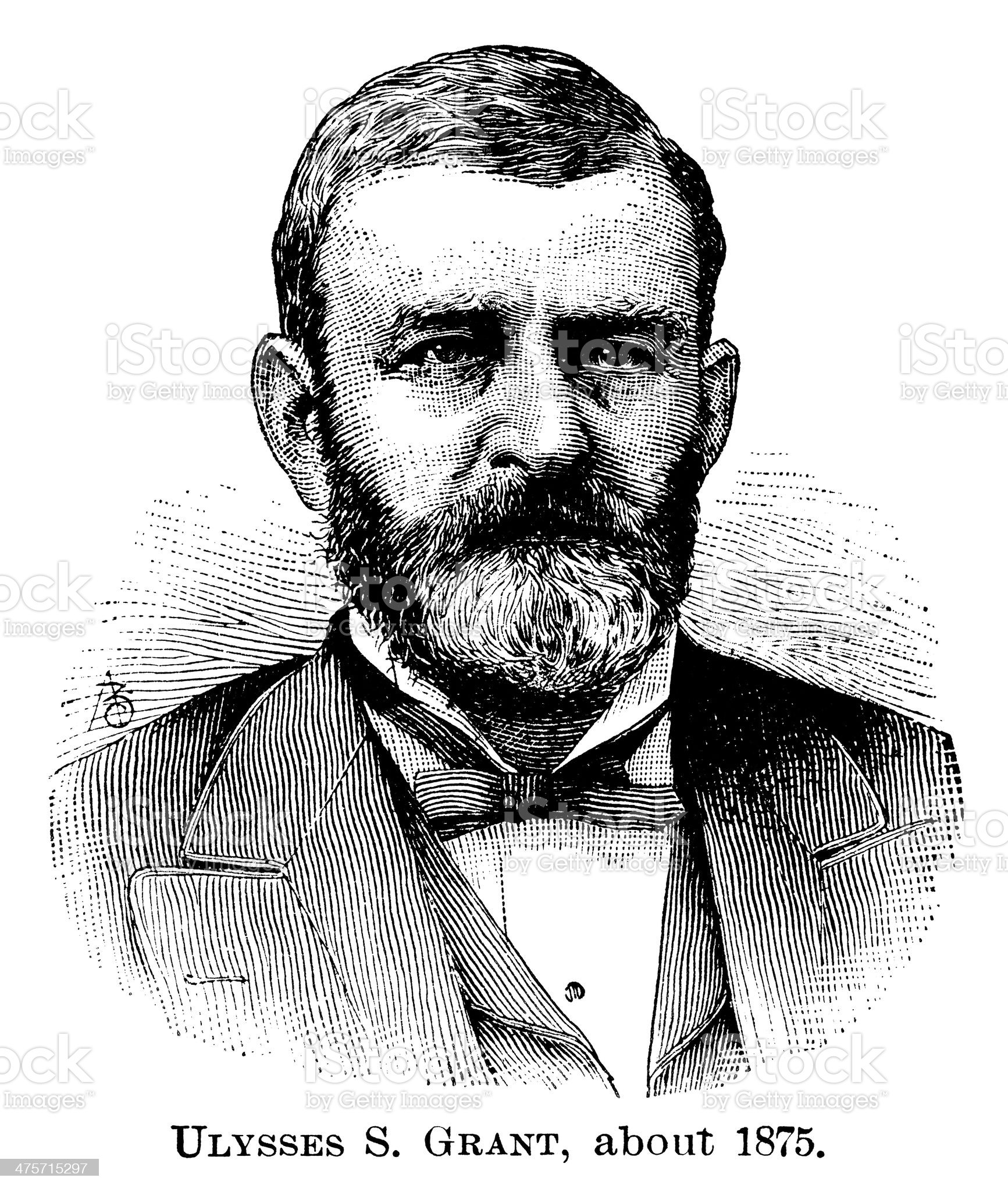 Ulysses S. Grant - Antique Engraved Portrait royalty-free stock vector art