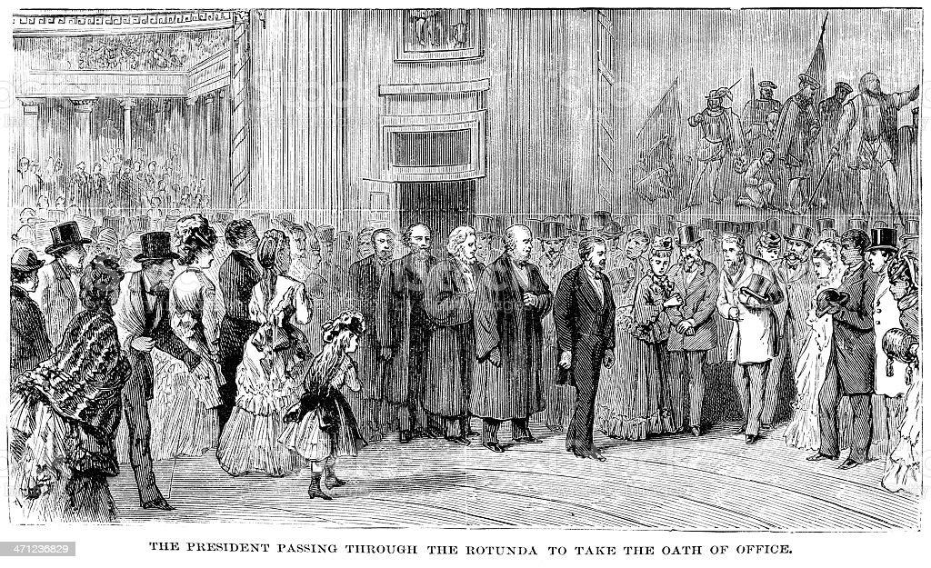Ulysses S. Grant inaugration engraving vector art illustration