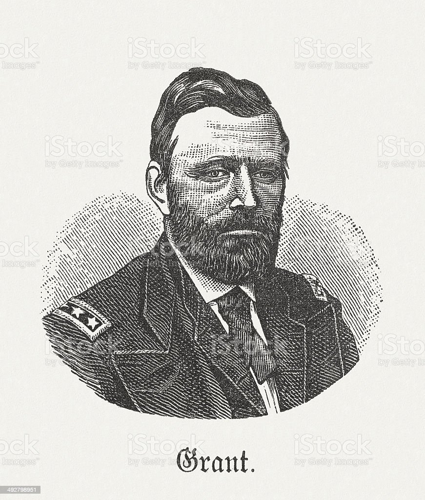 Ulysses Simpson Grant (1822-1885), 18th US-President, wood engraving, published 1881 royalty-free stock vector art