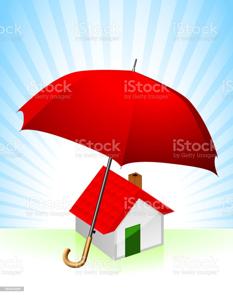 Umbrella and House royalty-free stock vector art