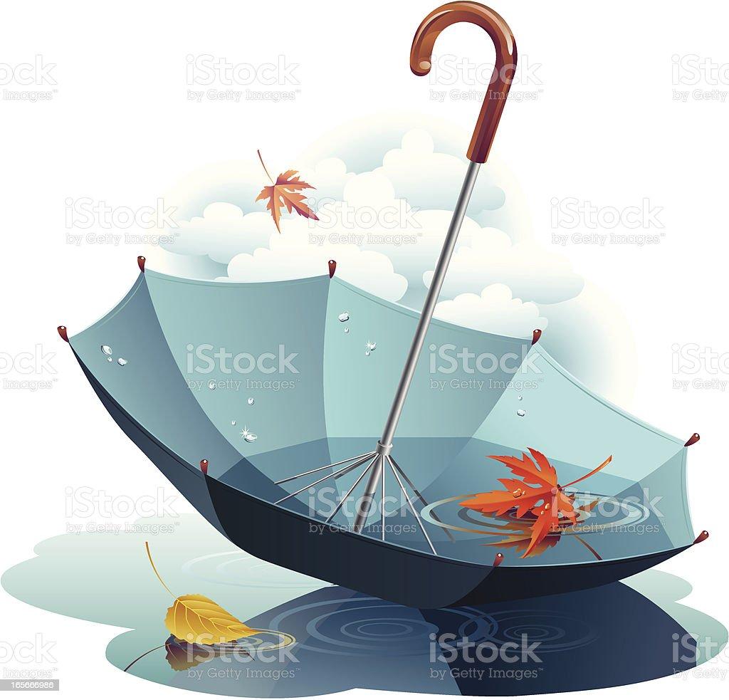 Umbrella and leaves vector art illustration