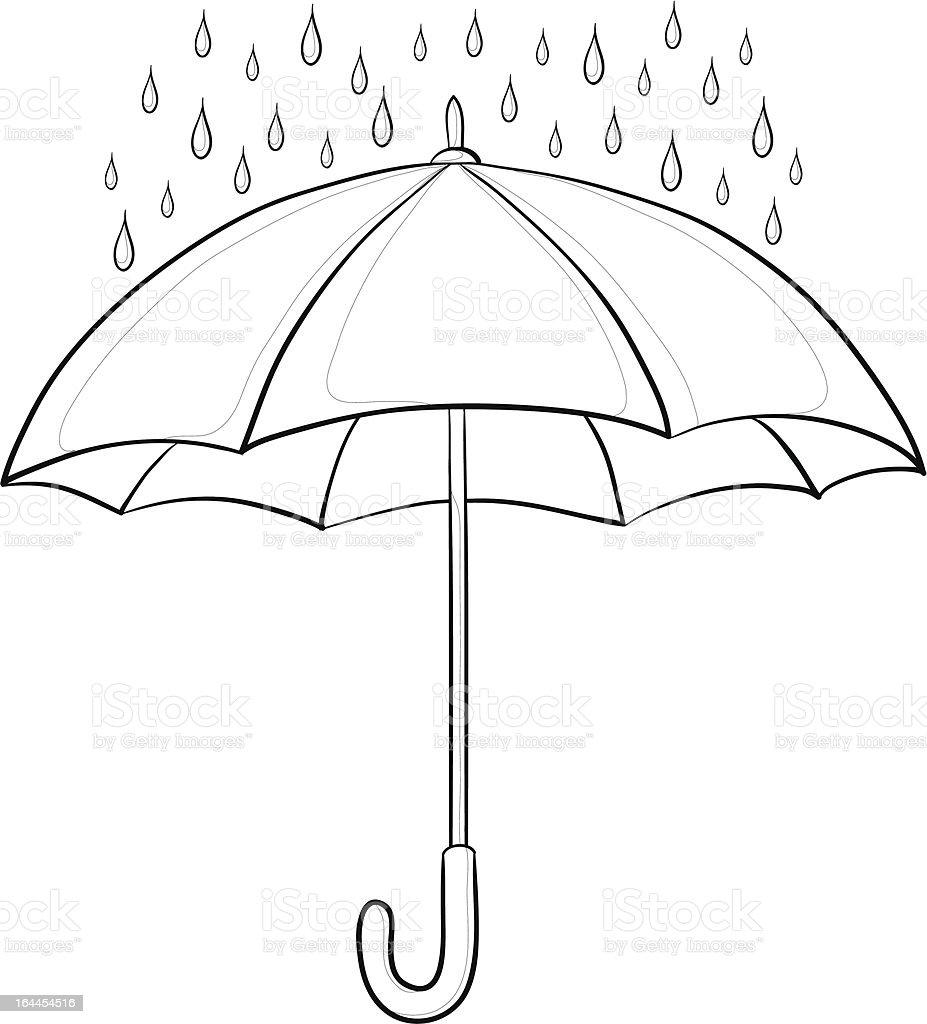 Umbrella and rain, contours vector art illustration