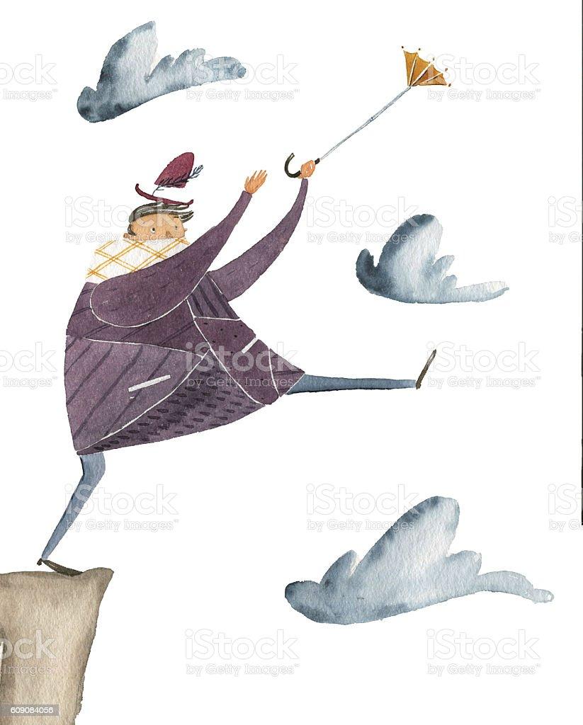 Umbrella flying vector art illustration