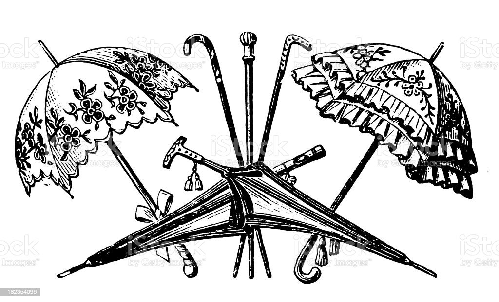 Umbrellas | Antique Design Illustrations royalty-free stock vector art