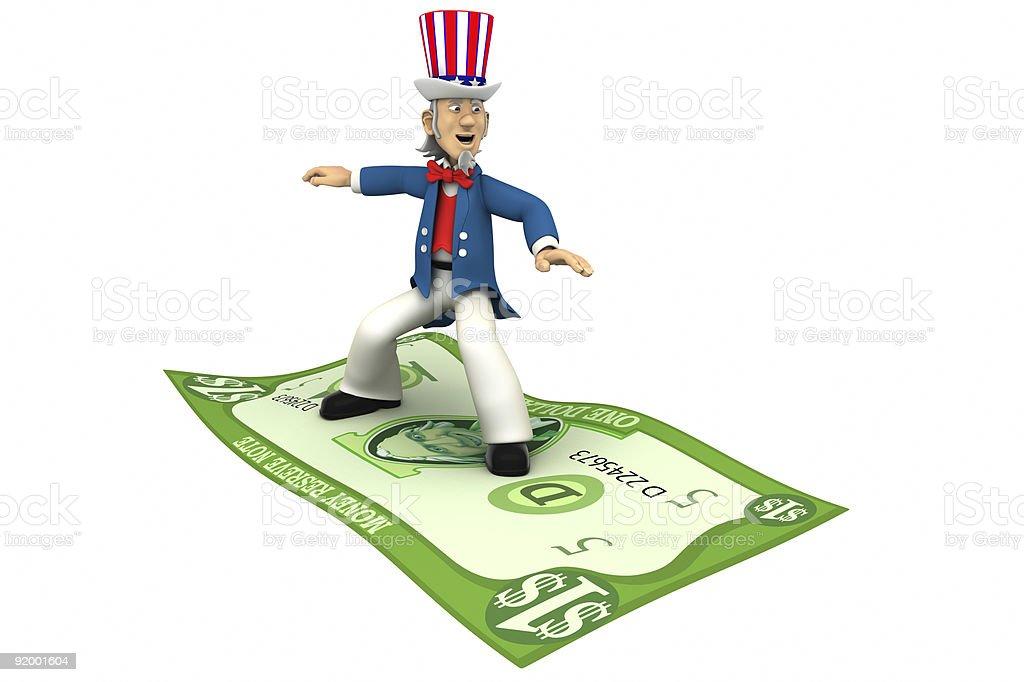 Uncle Sam riding money royalty-free stock vector art