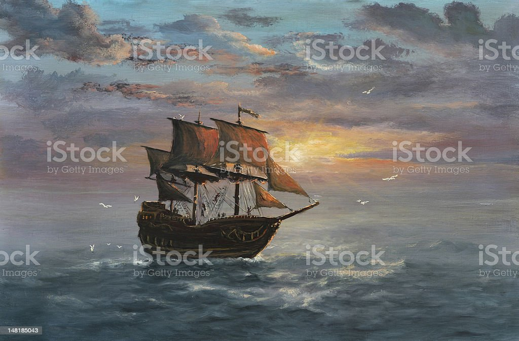 Under sail vector art illustration