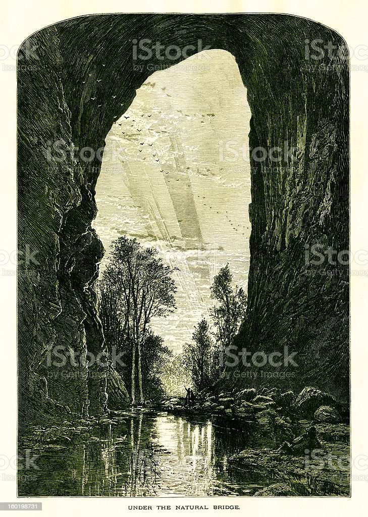 Under the Natural Bridge, Virginia vector art illustration