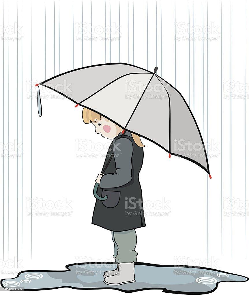 under the rain vector art illustration