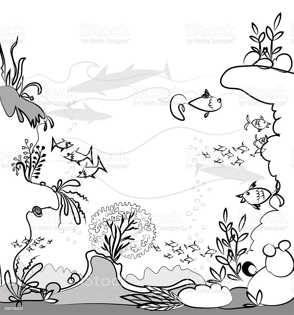 Under the sea, background vector art illustration