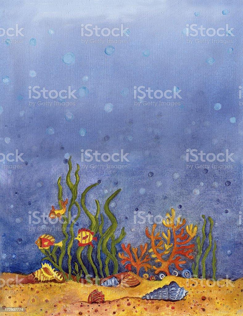 Under the Sea -oil painting vector art illustration