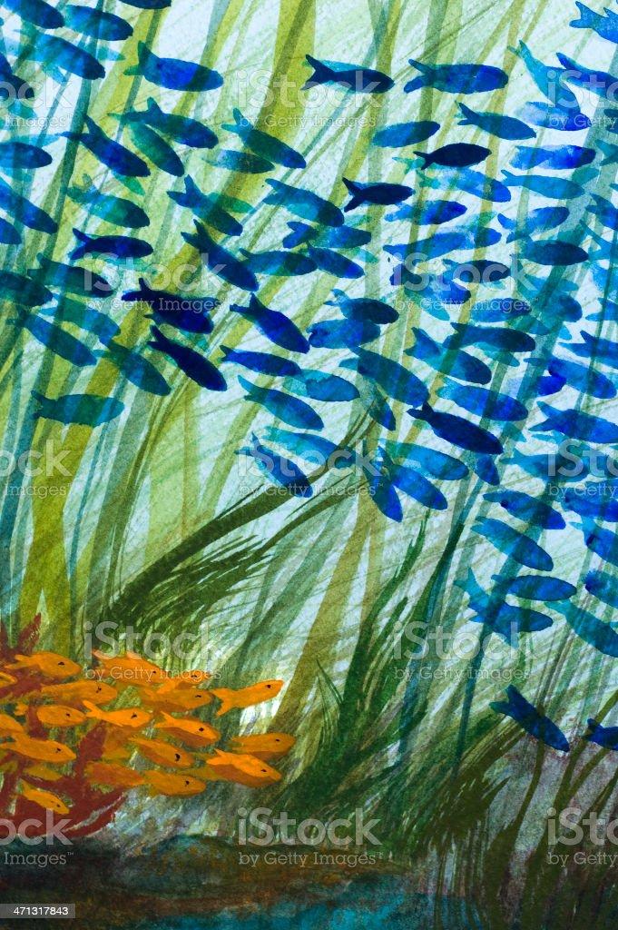 Under the Sea - Watercolor vector art illustration
