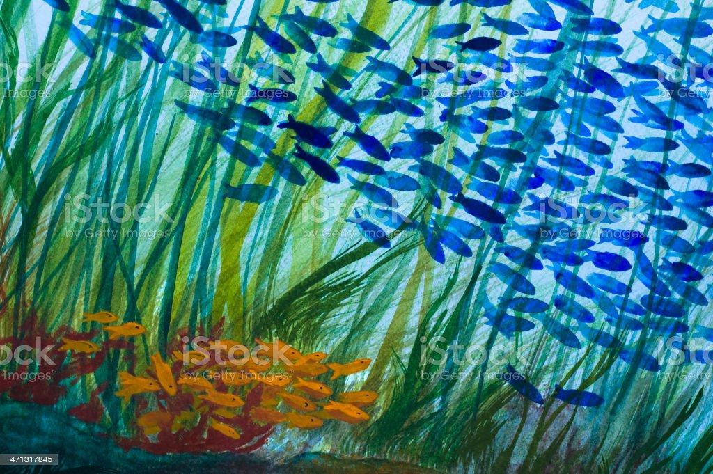 Under the Sea - Watercolor royalty-free stock vector art
