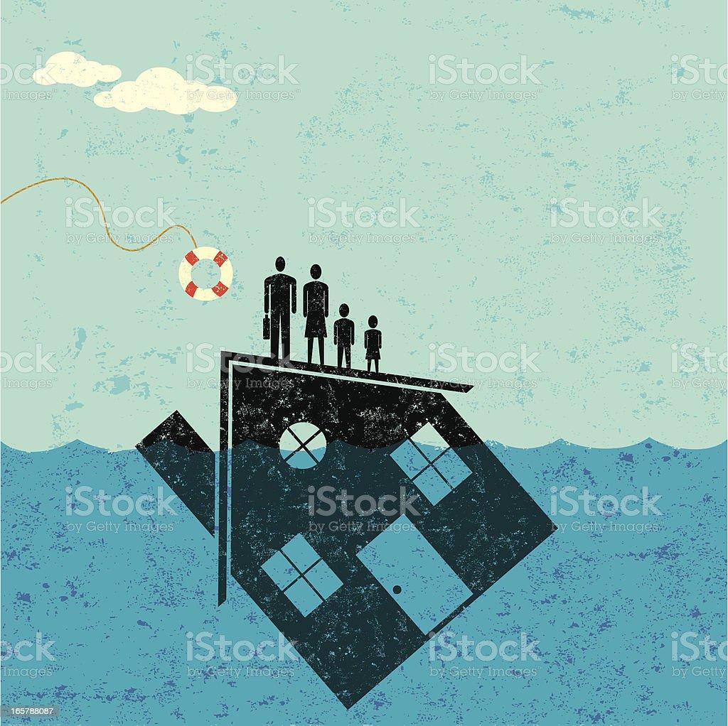 Underwater Home Mortgage Help vector art illustration