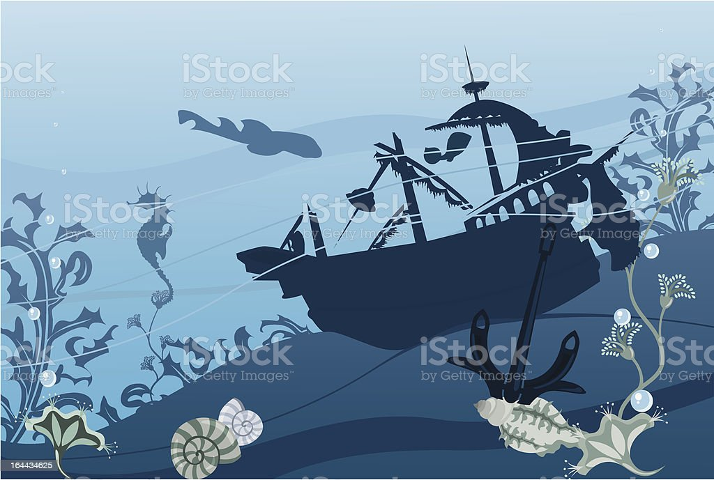 Underwater landscape royalty-free stock vector art
