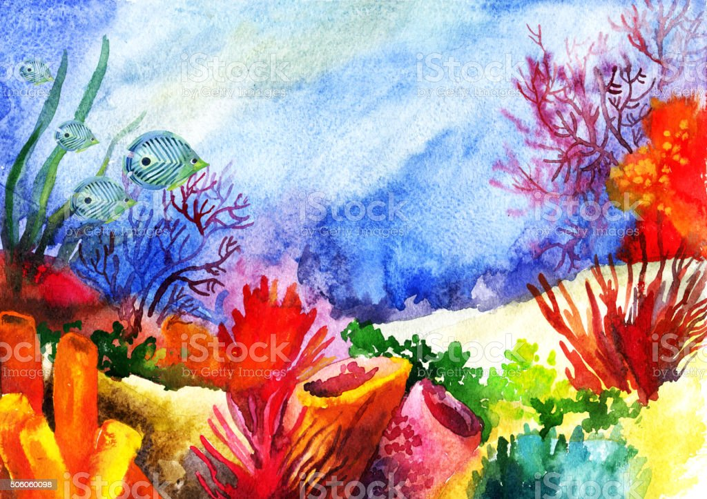 Underwater landscape with coral reef watercolor painted. vector art illustration