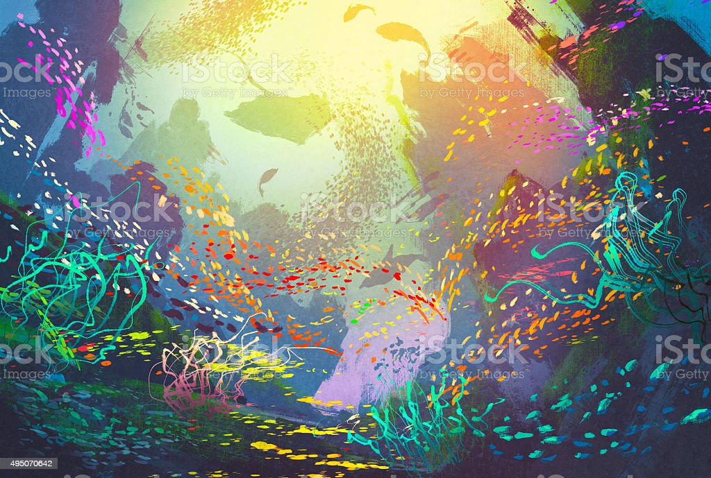 underwater with coral reef and colorful fish vector art illustration