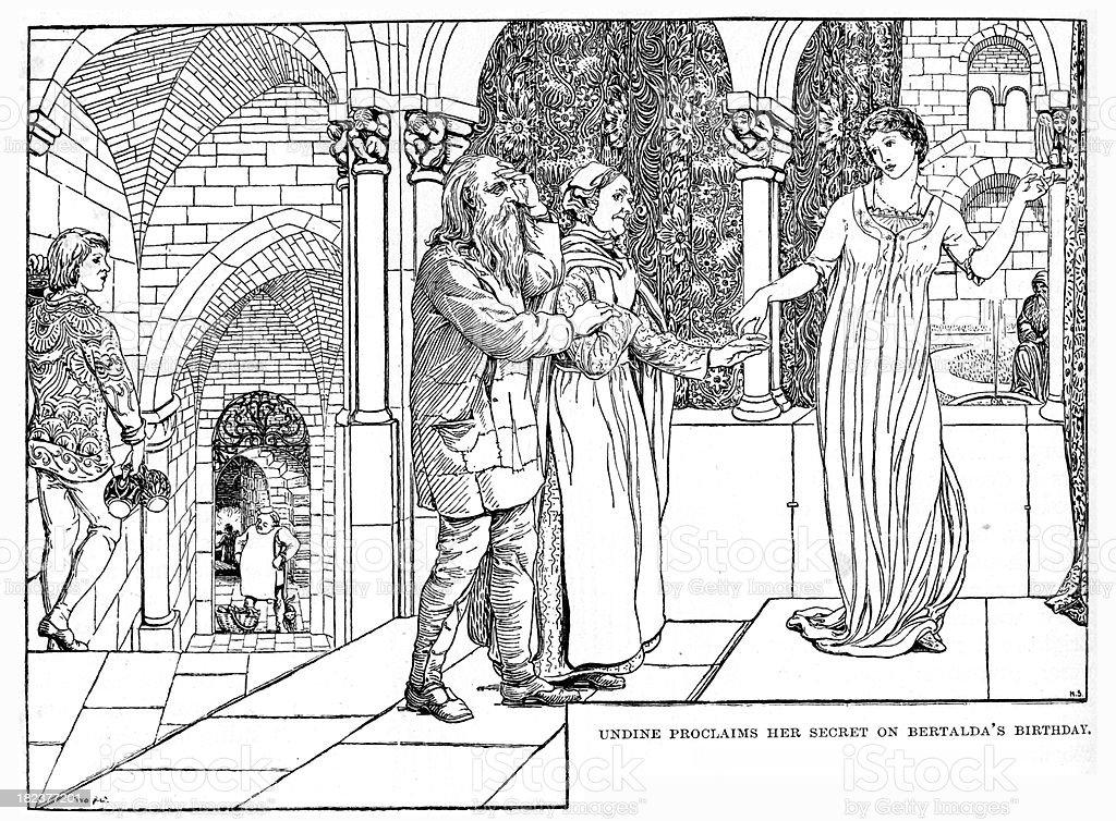 Undine proclaims her secret on Bertalda's Birthday vector art illustration