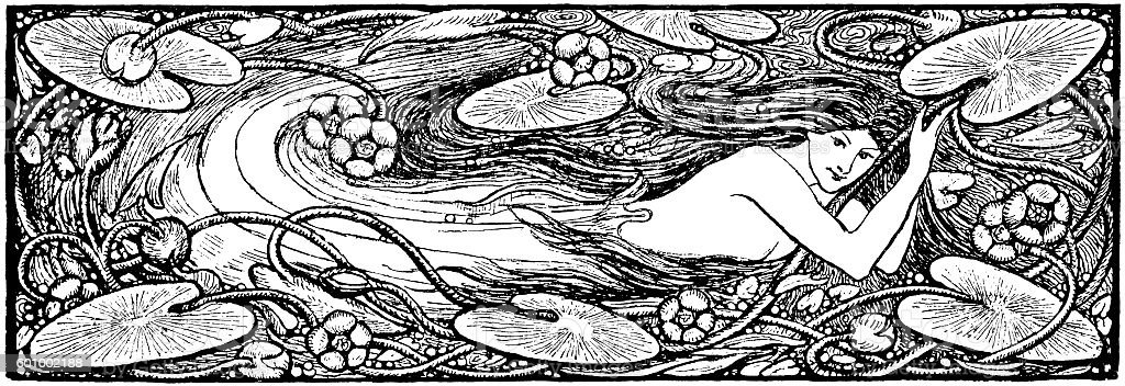 Undine - Victorian illustration vector art illustration