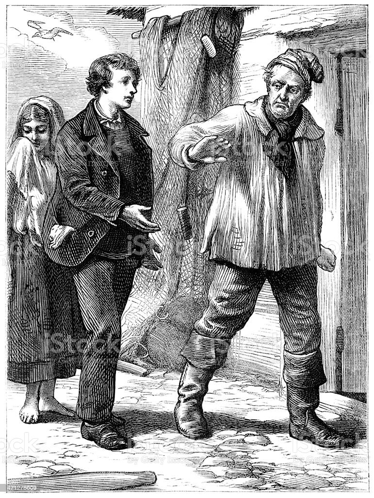 Unhappy group of poor people outside a house (Victorian illustration) vector art illustration