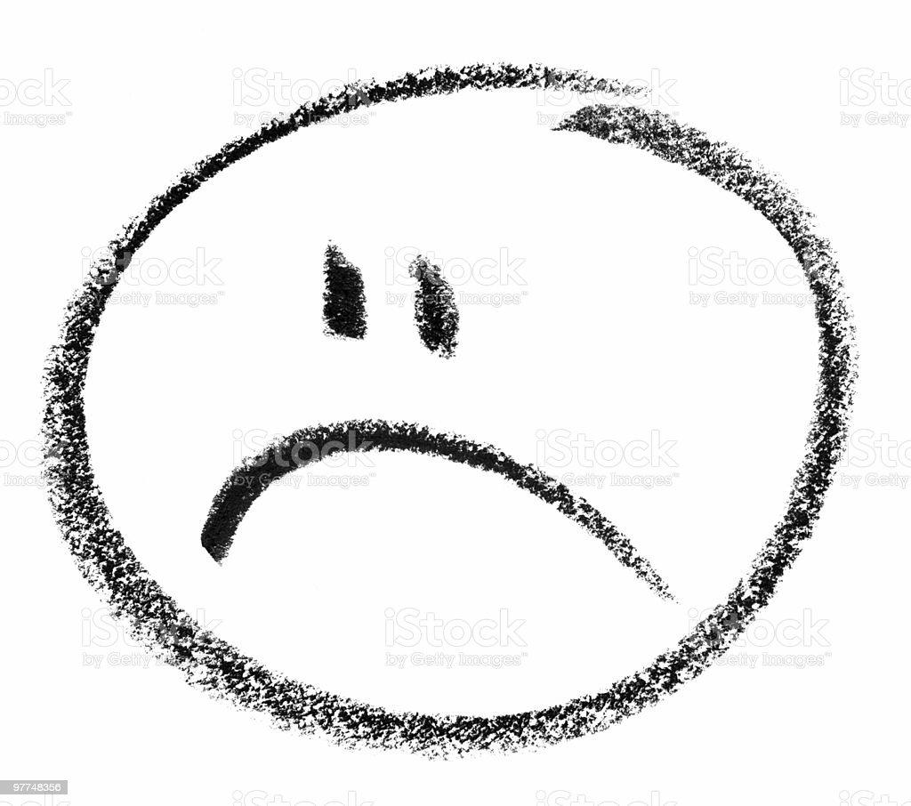 unhappy smiley sketch vector art illustration