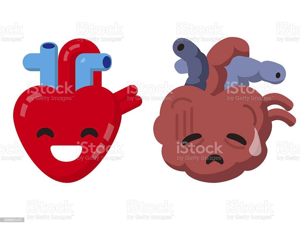 Heart stock illustration royalty free illustrations stock clip art - Unhealthy Heart And Healthy Heart Royalty Free Stock Vector Art