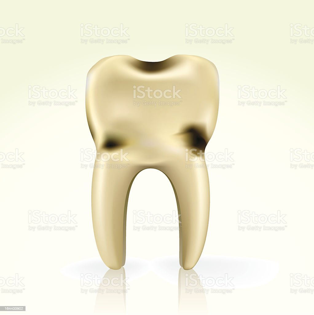 unhealthy, yellow cavity tooth vector art illustration