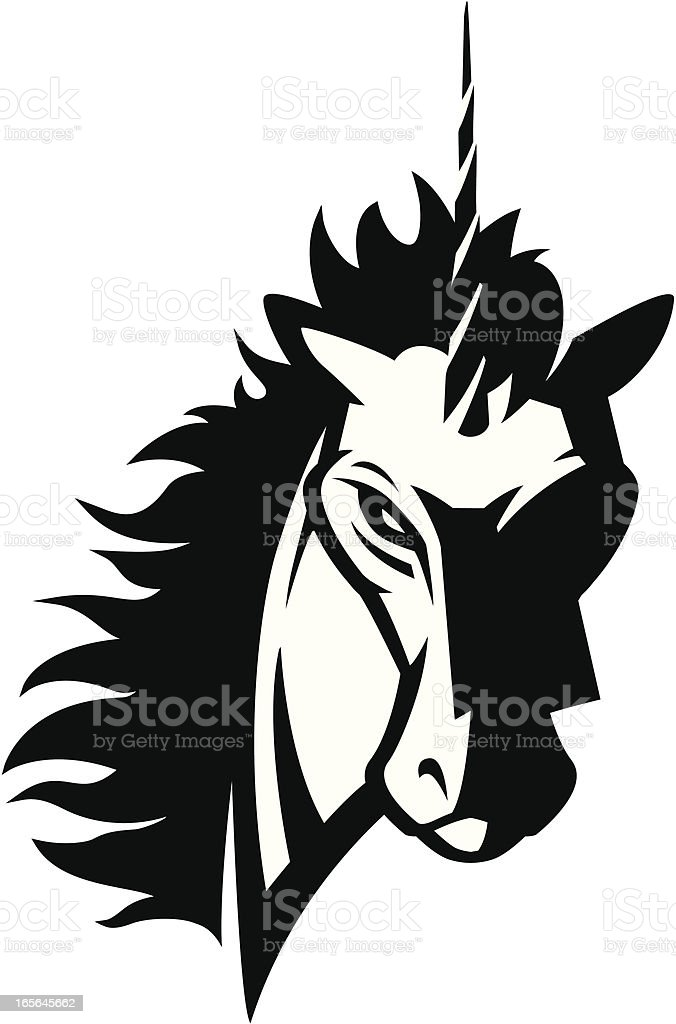 Unicorn head mascot 2 B&W royalty-free stock vector art