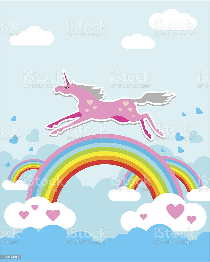 Unicorn on Rainbow royalty-free stock vector art