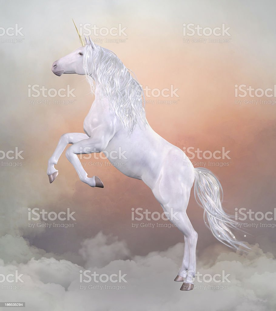 Unicorn over the clouds vector art illustration