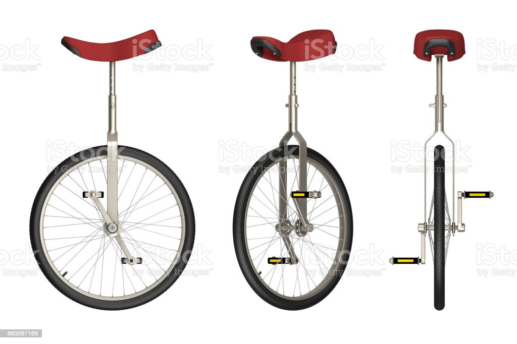 unicycle views isolated on white 3d rendering vector art illustration