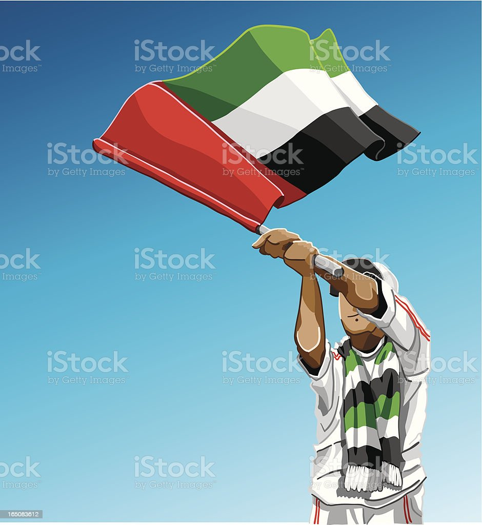 United Arab Emirates Waving Flag Soccer Fan royalty-free stock vector art