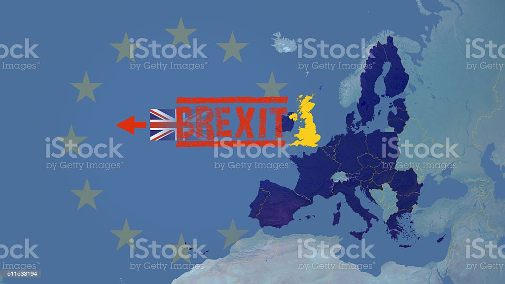 United Kingdom could exit (brexit)  European union vector art illustration