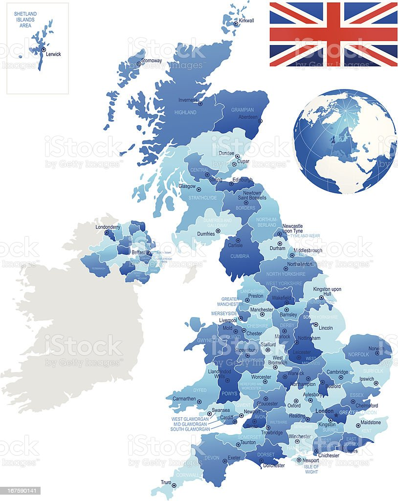 United Kingdom - detailed map royalty-free stock vector art