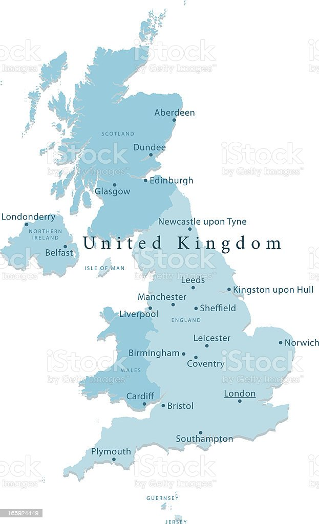 United Kingdom Vector Map Regions Isolated royalty-free stock vector art