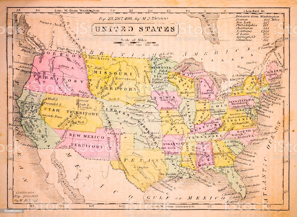 United States 1852 Map vector art illustration