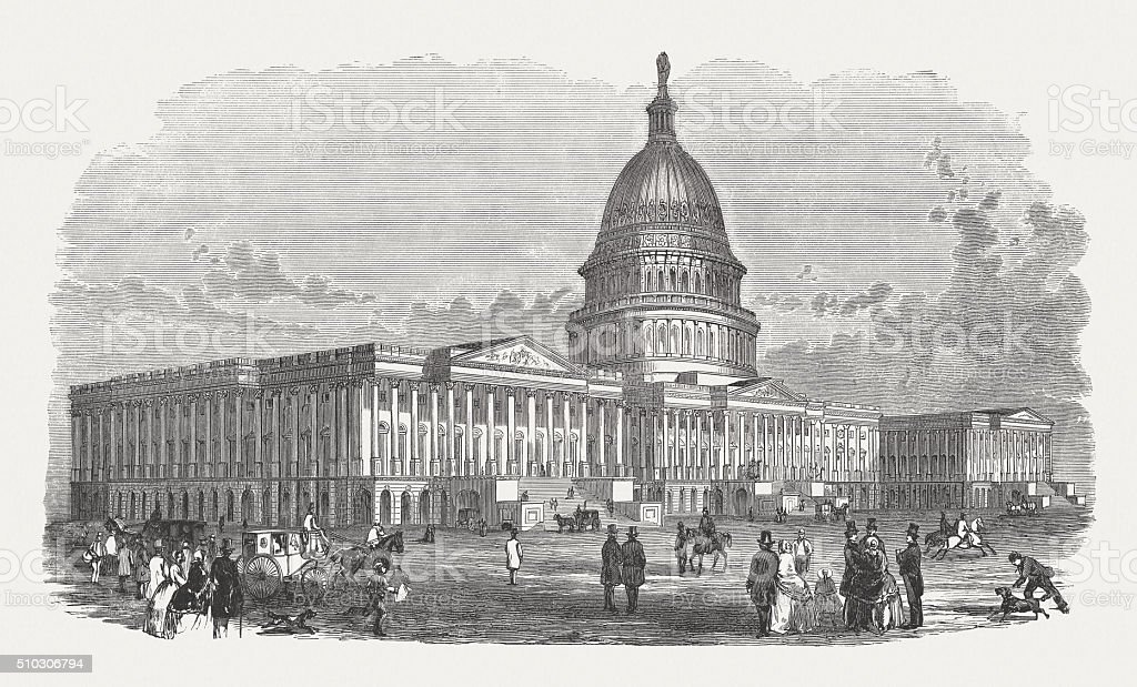 United States Capitol, Washington, D.C., wood engraving, published in 1880 vector art illustration